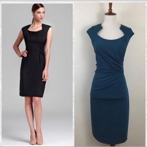 NWT Calvin Klein Capped Sleeve Ruched Dress - Teal